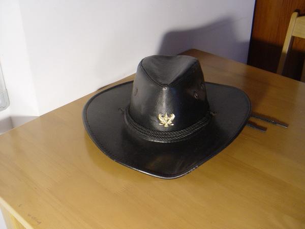 หมวกคาวบอยสีดำหนังแท้ Size-Medium