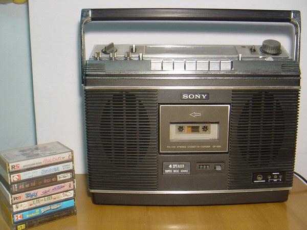 วิทยุ-เทปโบราณหูหิ้ว SONY CF-580 Stereo ใช้งานได้ปกติทุกฟังชั่น เสียงดีมาก