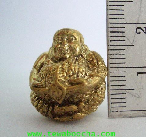 ลูกอมพระสังขจายณ์ อุ้มเงินทอง อวยพรอักขระมงคล เนื้อทองเหลือง ขนาด 2 ซม. 3