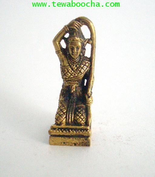 พระแม่ธรณีโภคทรัพย์สมบูรณ์แก้อาถรรพ์ชนะคดีความเนื้อทองเหลืองำสูง2.5ซม.กว้าง1ซม