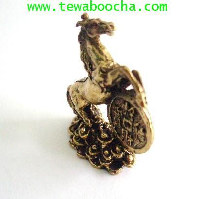 ม้ากลิ้งเงิน เสริมโชคลาภเร่งความสำเร็จ เนื้อทองเหลือง ขนาด 2.5 x3.5 ซม. 1