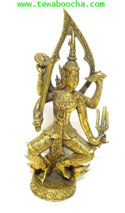 พระนารายณ์(ปางเทวดา) ทรงอาวุธทั้งสี่ เนื้อทองเหลือง สูง 7 ซม. ฐาน 3 ซม.เหมาะตั้งหิ้งบูชาขนาดเล็ก