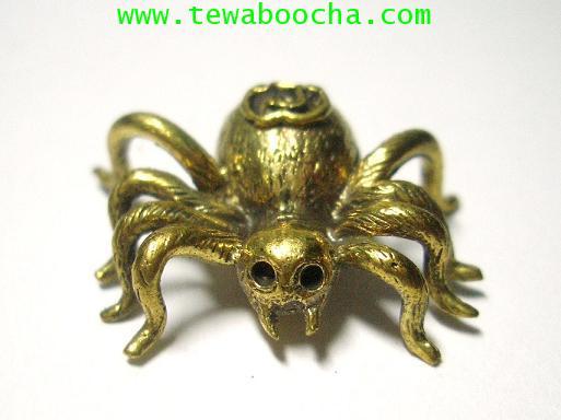 แมงมุมดักทรัพย์มหาลาภ เนื้อทองเหลือง ขนาด 2.5 x2.5 ซม.