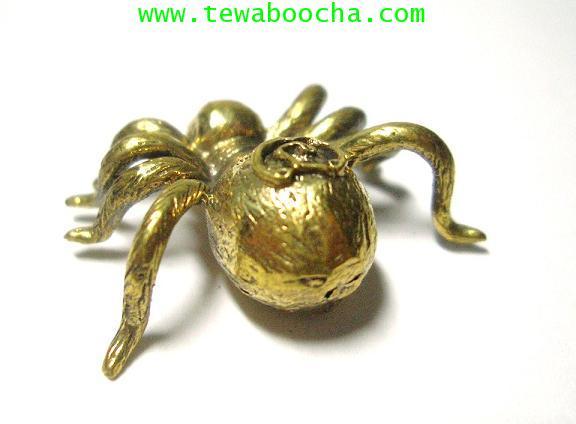 แมงมุมดักทรัพย์มหาลาภ เนื้อทองเหลือง ขนาด 2.5 x2.5 ซม. 1