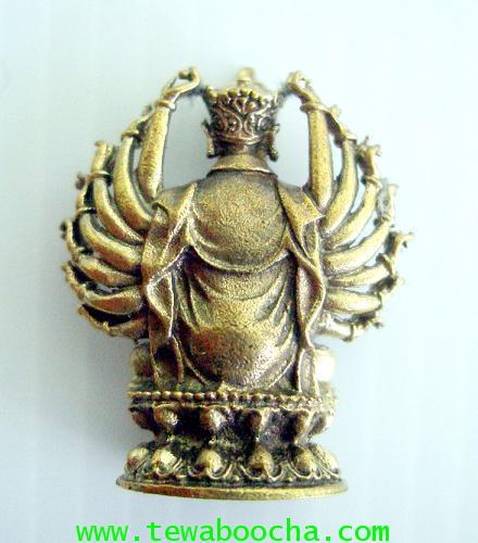 พระอมิตาพุทธเจ้าปาง 16 กร พนมมือแสดงปาฏิหาริย์ สมหวังทุกประการ เนื้อทองเหลือง ขนาดฐาน2ซมxสูง2.5ซม. 1