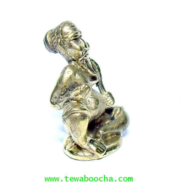 แบบ 9:ชูชกมหาลาภ เทพเจ้าแห่งการขอ ท่านั่ง เนื้อทองเหลือง ฐาน 2.5 ซม.สูง 3.5 ซม. 3