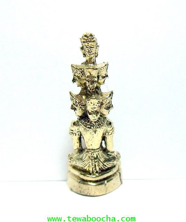 พระมหาเศรษฐีนวโกฎิ พระเก้าเศรษฐี(เล็ก)เนื้อทองเหลือง สูง3.5ซม.ฐาน1.3ซม เศียร 3 ชั้น 9หน้า 1