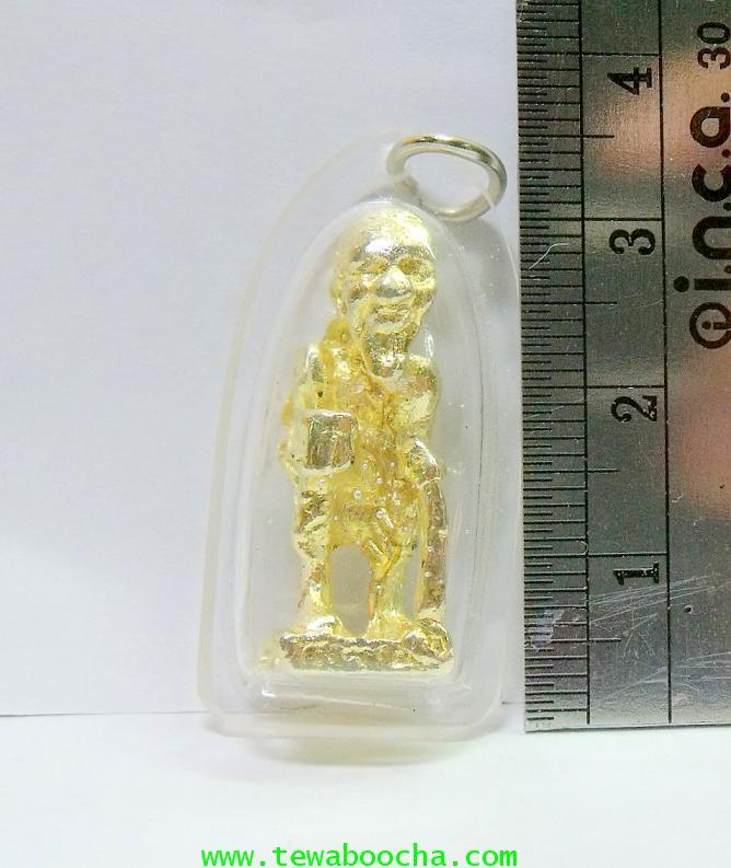แบบ17:ชูชกมหาลาภเดินทาง ถือไม้เท้า ถือขัน:เนื้อทองเหลืองเคลือบทอง (กรอบพลาสติก) ฐาน1.5ซม.สูง 3ซม. 3