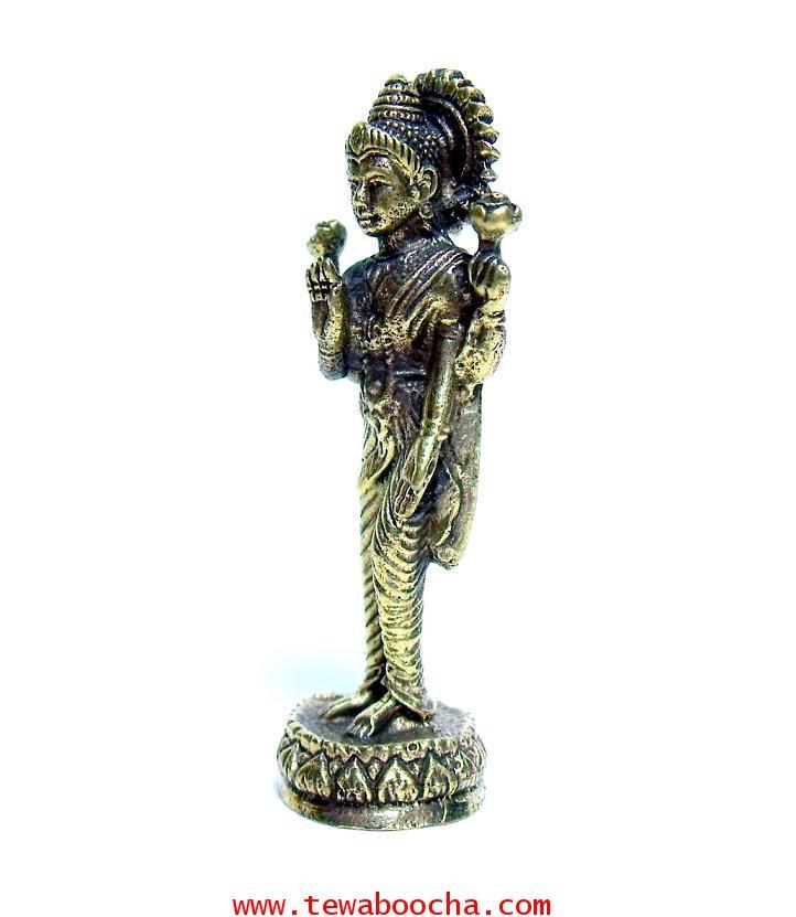 พระแม่ลักษมีเทวีแห่งความร่ำรวยปางประทานพรโปรยเงินทอง (ยืน):เนื้อทองเหลืองำ สูง4ซม.ฐาน1ซม 1