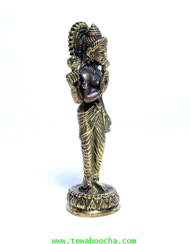 พระแม่ลักษมีเทวีแห่งความร่ำรวยปางประทานพรโปรยเงินทอง (ยืน):เนื้อทองเหลืองำ สูง4ซม.ฐาน1ซม 3