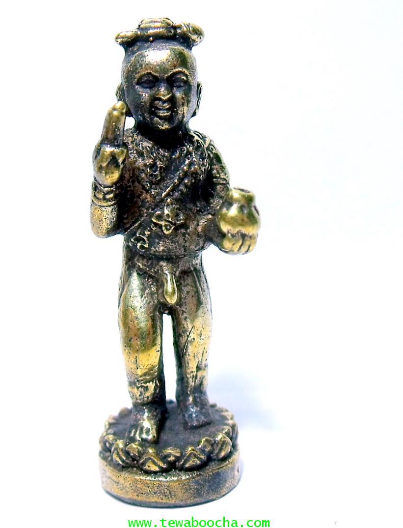 กุมารทองยืนกินกล้วยถือถุงทอง ค้าขาย บันดาลโชคลาภและค้าขายดี เสี่ยงโชค:เนื้อทองเหลือง สูง3ซม.ฐา