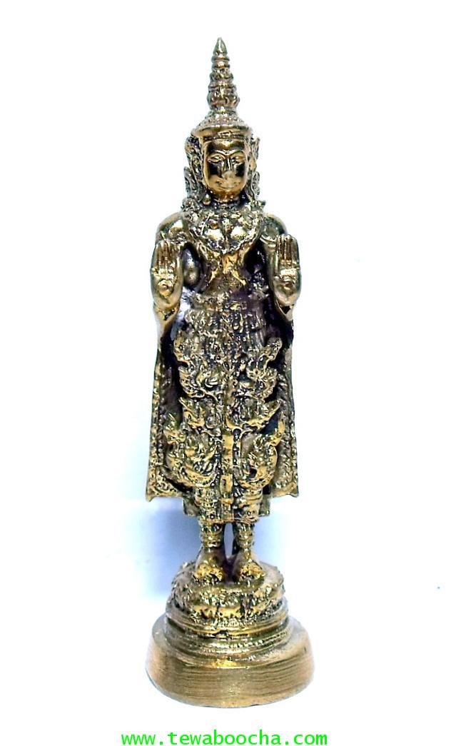 พระพุทธรูปปางโปรดพระยามหาชมพู(พระทรงเครื่อง)พระประจำปีของผู้เกิดปีกุน:เนื้อทองเหลืองสูง8ซม.ฐาน2.5ซม.
