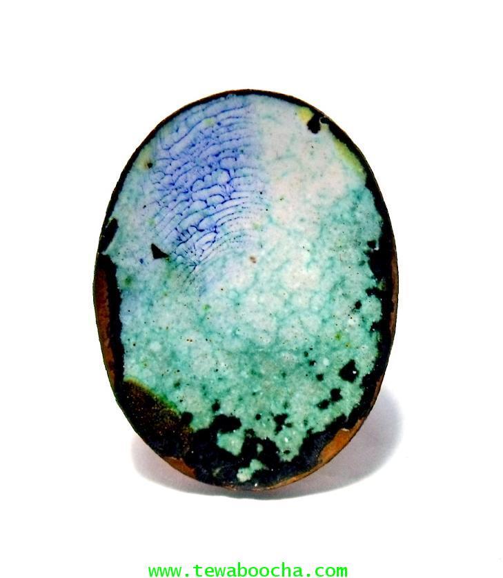 หลวงพ่อเกษม เขมโก จ.ลำปาง:ล๊อกเกตเปลือกไข่หลังเปล่าลายหิน ขนาด 2X3 ซม. 4