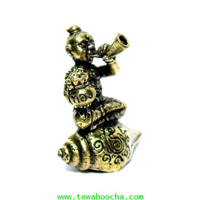 กุมารทองนั่งสังข์เป่าแตรถือถุงเงินทองร้องป่าวให้ชื่อเสียงโด่งดังมีเงินทอง:เนื้อทองเหลืองสูง2.5x2.5ซม
