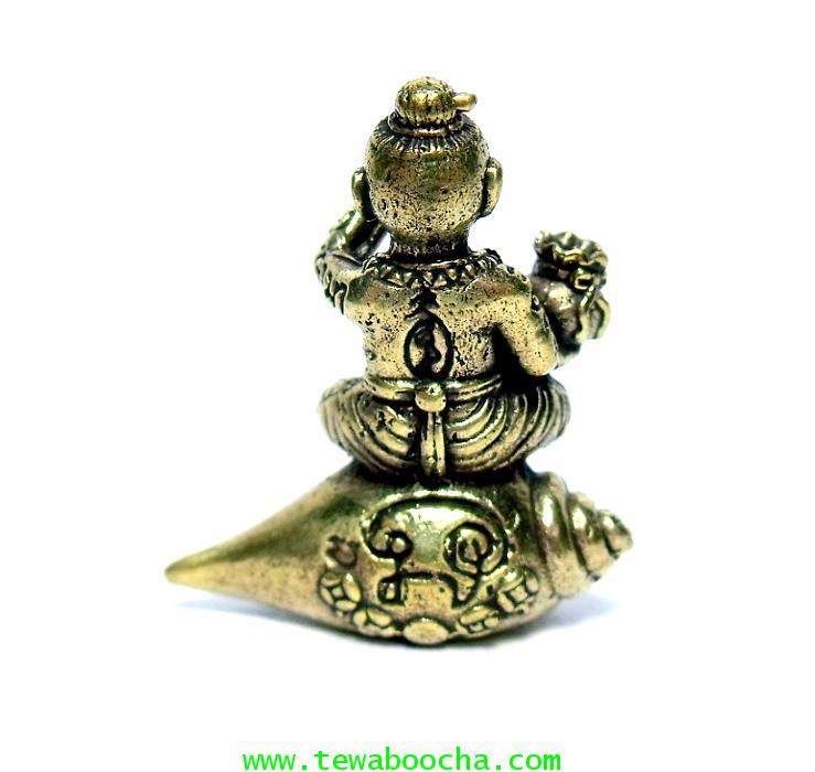 กุมารทองนั่งสังข์เป่าแตรถือถุงเงินทองร้องป่าวให้ชื่อเสียงโด่งดังมีเงินทอง:เนื้อทองเหลืองสูง2.5x2.5ซม 3