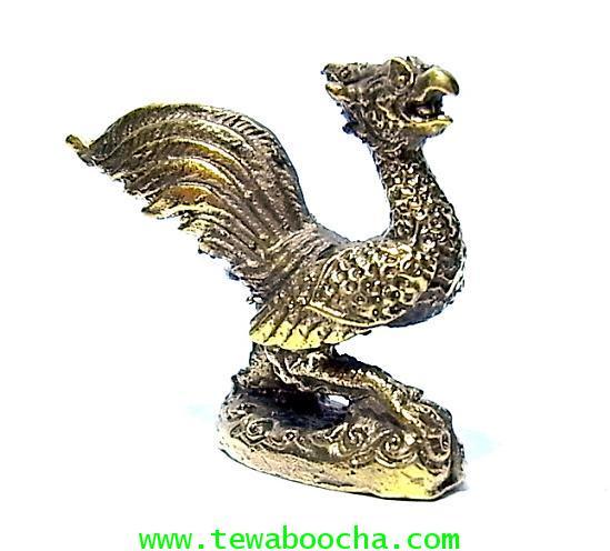 พญาไก่แก้วเรียกทรัพย์ เทพเรียกเงินทอง:เนื้อทองเหลืองเงาสูง3.3ซม.ฐาน 4 ซม.