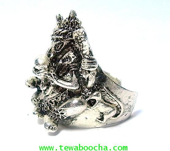 แหวนพระพิฆเนศวร์เต็มองค์ ถือแก้วสารพัดนึก ปางประทานพร:เนื้อทองเหลืองชุบเงินฟรีปัดดำ(ฟรีไซด์ง้างได้) 1