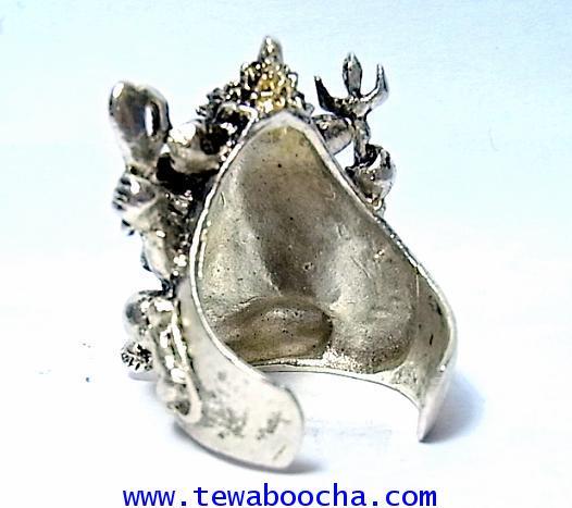 แหวนพระพิฆเนศวร์เต็มองค์ ถือแก้วสารพัดนึก ปางประทานพร:เนื้อทองเหลืองชุบเงินฟรีปัดดำ(ฟรีไซด์ง้างได้) 2