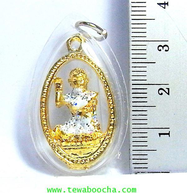 จี้แม่นางกวักเรียกโชคลาภค้าขายดีสวมสไบสีขาว เคลือบทองกรอบพลาสติกกันน้ำสูง3.5ซม.กว้าง2ซม. 2