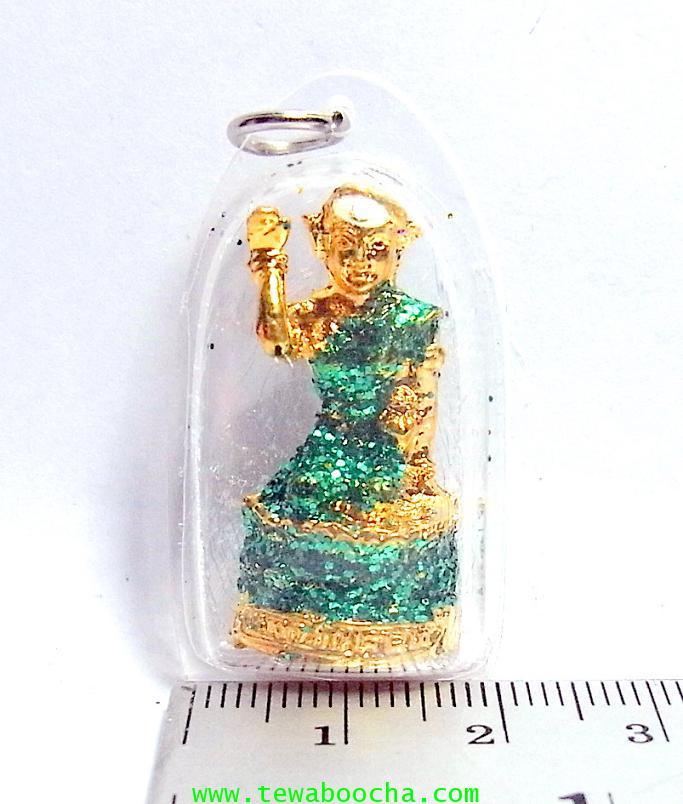แบบ21:ล๊อกเกตแม่นางกวักเรียกโชคลาภค้าขายดีสวมสไบสีเขียว องค์กลมกรอบพลาสติกกันน้ำสูง3.5ซม.กว้าง2ซม. 3