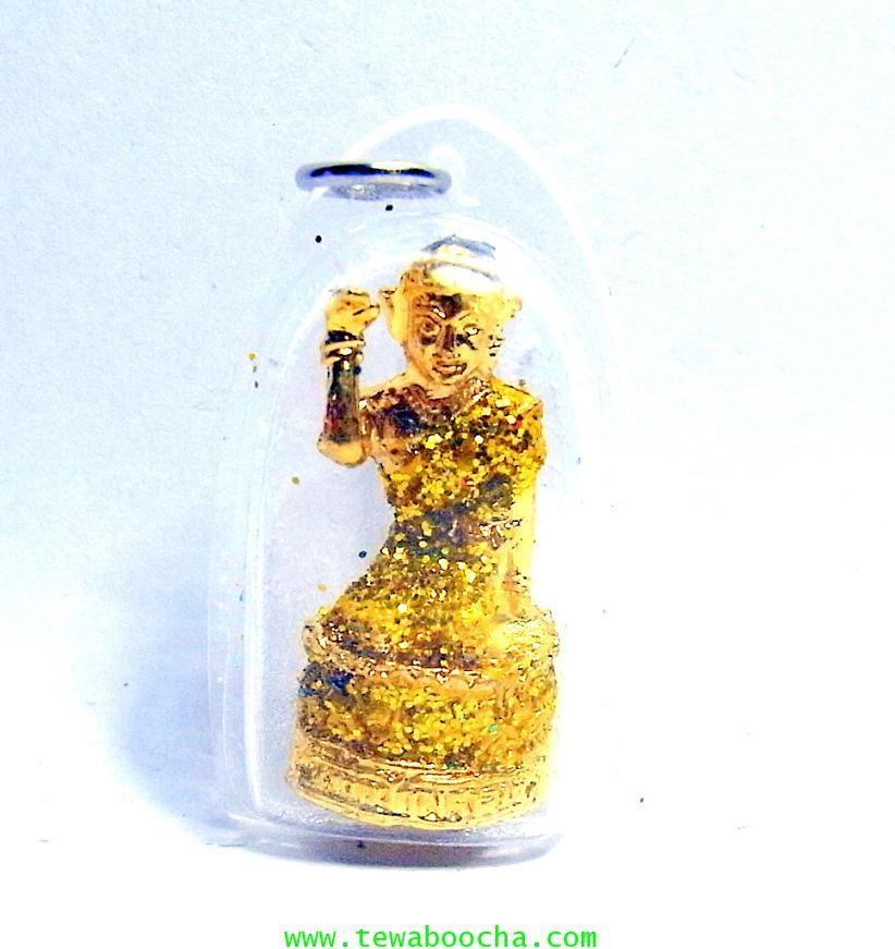 จี้แม่นางกวักเรียกโชคลาภค้าขายดีสวมสไบสีเหลือง องค์กลมกรอบพลาสติกกันน้ำสูง3.5ซม.กว้าง2ซม.
