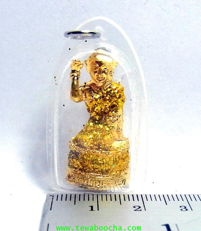 จี้แม่นางกวักเรียกโชคลาภค้าขายดีสวมสไบสีเหลือง องค์กลมกรอบพลาสติกกันน้ำสูง3.5ซม.กว้าง2ซม. 3