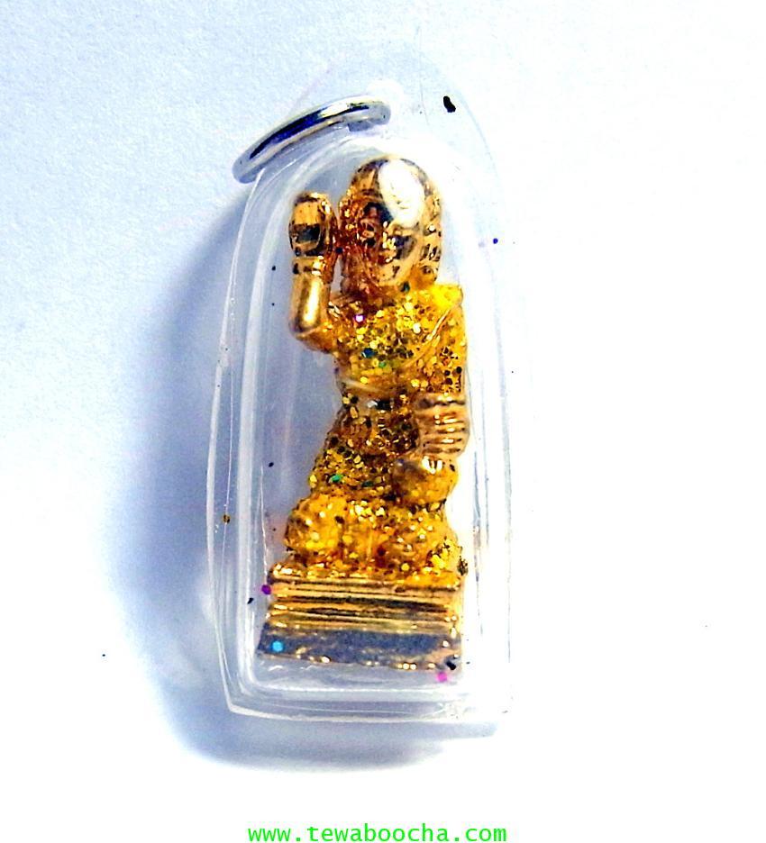 จี้แม่นางกวักเรียกโชคลาภค้าขายดีสไบสีเหลืององค์สี่เหลียมกรอบพลาสติกกันน้ำสูง3.5ซมกว้าง2ซม