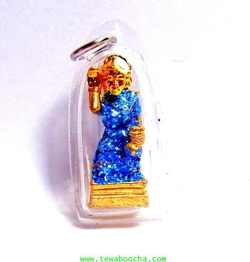 จี้แม่นางกวักเรียกโชคลาภค้าขายดีสวมสไบสีฟ้า องค์สี่เหลียมกรอบพลาสติกกันน้ำสูง3.5ซมกว้าง2ซม