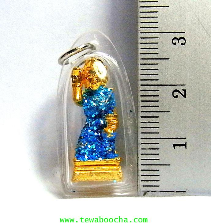จี้แม่นางกวักเรียกโชคลาภค้าขายดีสวมสไบสีฟ้า องค์สี่เหลียมกรอบพลาสติกกันน้ำสูง3.5ซมกว้าง2ซม 2