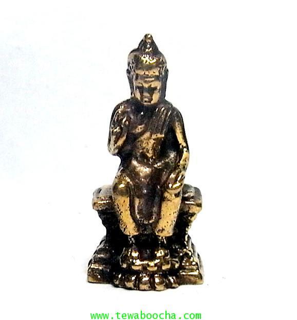 พระพุทธรูปปางประทานพร(นั่ง) ให้พรหมดทุกข์โรคภัยปางโบราณทวาราวดีเนื้อทองเหลืองสูง 3 ซม.ฐานกว้าง1.5ซม.