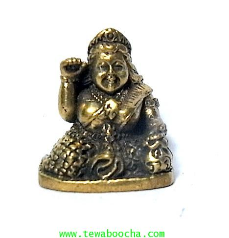 แม่นางกวักแม่รวยอุดมสมบูรณ์มั่งมีเงินทองถือถึงเงินทองกวักมือขวาเนื้อทองเหลืองสูง2ซมฐาน1.5ซม.
