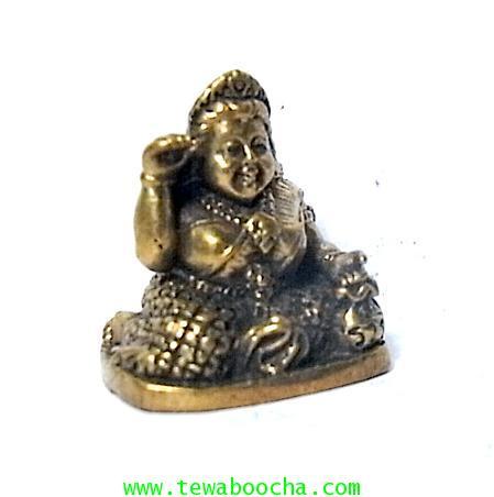 แม่นางกวักแม่รวยอุดมสมบูรณ์มั่งมีเงินทองถือถึงเงินทองกวักมือขวาเนื้อทองเหลืองสูง2ซมฐาน1.5ซม. 3