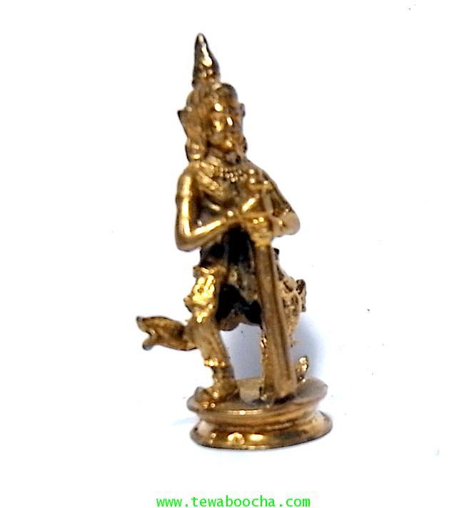 พระเวสสุวรรณพระพักตร์เทพคุ้มภัยใ้ห้โชคลาภเนื้อทองเหลืองสูง 4ซม.ฐาน 1.5 ซม.เหมาะทำล๊อกเกตห้อยคอ 3