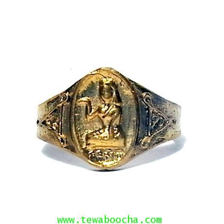 แหวนนางกวัก กวักโชคลาภเงินทอง เหมาะกับพ่อค้าแม่ขาย เนื้อทองเหลืองเส้นผ่านศูนย์กลาง1.8ซม.(นิ้วผู้หญิง