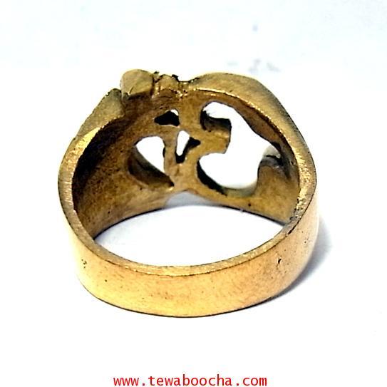 แหวนสัญลักษณ์โอม รวมพลังมหาเทพ เนื้อทองเหลืองผิวเก่าหน้าแหวนสูง 1.3 ซม.เส้นผ่านศูนย์กลาง2ซม. 2