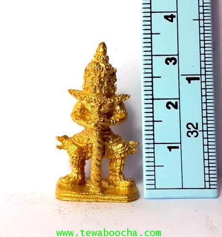 พระเวสสุวรรณคุ้มครองกันภัยปัดสิ่งชั่วร้ายเนื้อทองเหลืองชุบทองสูง3.5ซม.ฐาน1.7ซม. 4