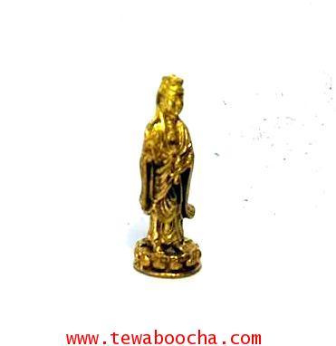 เจ้าแม่กวนอิมจิ๋วปางยืนประทานพรประทับดอกบัวชีวิตร่มเย็นเป็นสุขไม่ตกต่ำเนื้อทองเหลืองสูง2ซม.ฐาน0.7ซม. 3