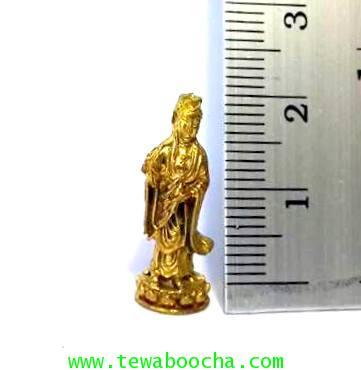 เจ้าแม่กวนอิมจิ๋วปางยืนประทานพรประทับดอกบัวชีวิตร่มเย็นเป็นสุขไม่ตกต่ำเนื้อทองเหลืองสูง2ซม.ฐาน0.7ซม. 4