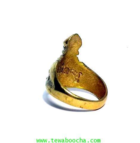 แหวนเศียรพ่อแก่บรมครูปู่ฤๅษีสลักหลังพ่อครูฤาษี เนื้อทองเหลืองหน้าแหวนสูง2.5ซม.เส้นผ่านศูนย์กลาง2 ซม. 1