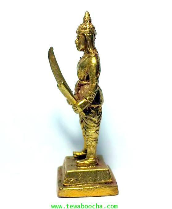 พระยาพิชัยดาบหักทหารเอกพระเจ้าตากผู้ภักดี เนื้อทองเหลืองสูง 7.5ซม.ฐาน 3ซม. 2