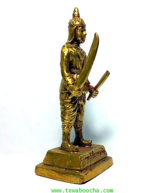 พระยาพิชัยดาบหักทหารเอกพระเจ้าตากผู้ภักดี เนื้อทองเหลืองสูง 7.5ซม.ฐาน 3ซม. 4