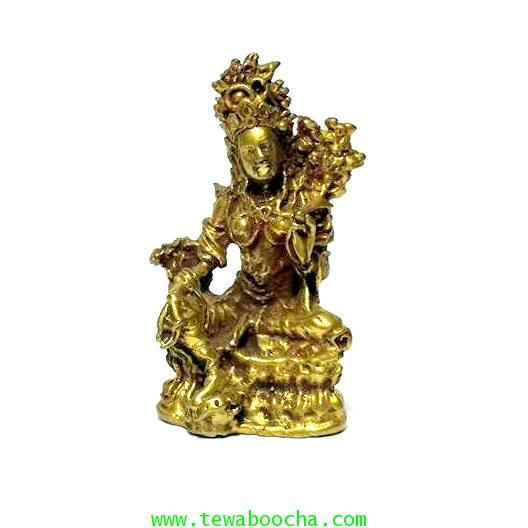 พระอารยอวโลกิเตศวรหรือพระปาริสุทธิการุณย์โพธิสัตว์ศิลปะศรีวืชัย เนื้อทองเหลืองสูง3.5ซม.ฐาน2ซม.