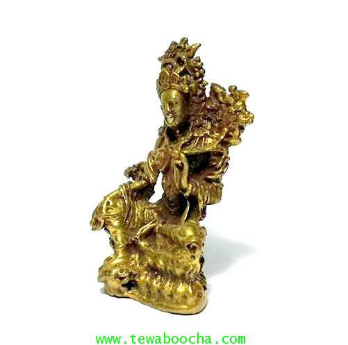 พระอารยอวโลกิเตศวรหรือพระปาริสุทธิการุณย์โพธิสัตว์ศิลปะศรีวืชัย เนื้อทองเหลืองสูง3.5ซม.ฐาน2ซม. 1