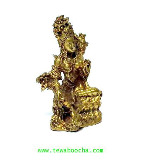 พระอารยอวโลกิเตศวรหรือพระปาริสุทธิการุณย์โพธิสัตว์ศิลปะศรีวืชัย เนื้อทองเหลืองสูง3.5ซม.ฐาน2ซม. 3