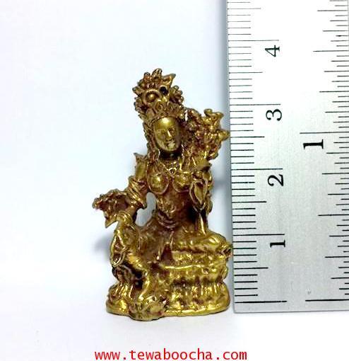 พระอารยอวโลกิเตศวรหรือพระปาริสุทธิการุณย์โพธิสัตว์ศิลปะศรีวืชัย เนื้อทองเหลืองสูง3.5ซม.ฐาน2ซม. 4