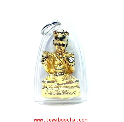 กุมารทองชุบทองนั่งกวักสองมือเฝ้าถุงเงินทองประทานโชคลาภเงินทอง กรอบพลาสติกสูง 3.5ซม.ฐาน2.2ซม.