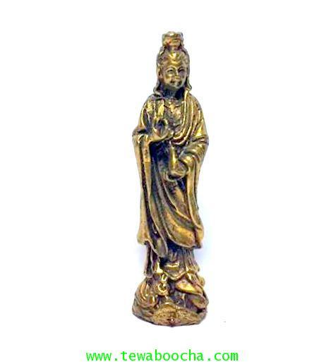 เจ้าแม่กวนอิมปางยืนยกมือประทานพรให้สมหวัง ถือแจกันน้ำทิพย์:เนื้อทองเหลืองสูง4ซม.ฐาน1ซม.