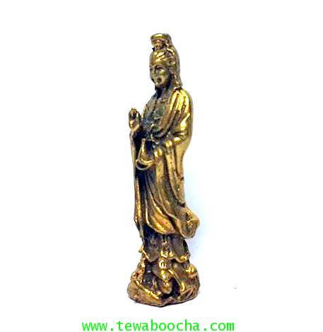 เจ้าแม่กวนอิมปางยืนยกมือประทานพรให้สมหวัง ถือแจกันน้ำทิพย์:เนื้อทองเหลืองสูง4ซม.ฐาน1ซม. 1