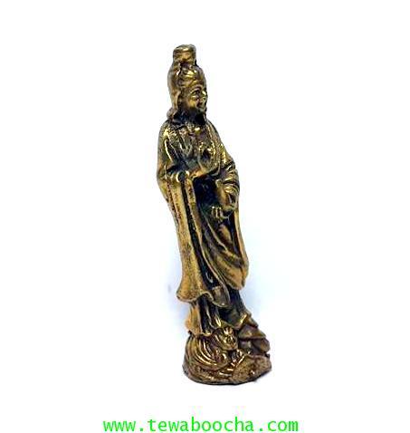 เจ้าแม่กวนอิมปางยืนยกมือประทานพรให้สมหวัง ถือแจกันน้ำทิพย์:เนื้อทองเหลืองสูง4ซม.ฐาน1ซม. 3