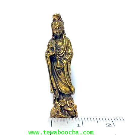 เจ้าแม่กวนอิมปางยืนยกมือประทานพรให้สมหวัง ถือแจกันน้ำทิพย์:เนื้อทองเหลืองสูง4ซม.ฐาน1ซม. 5